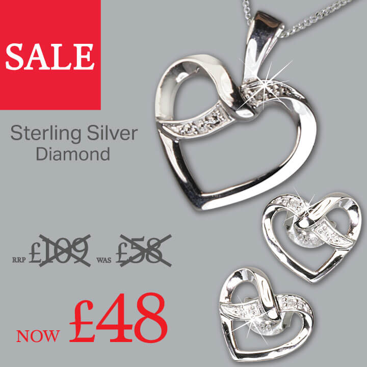 Sterling Silver Diamond Earrings And Necklace