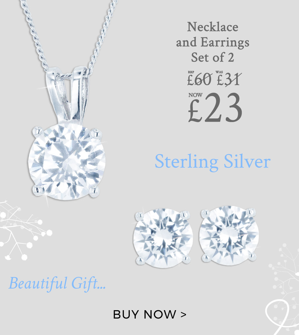 Sterling Silver DiamonFlash Necklace and Earrings