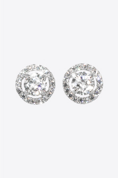 Silver CZ Halo Stud Earrings