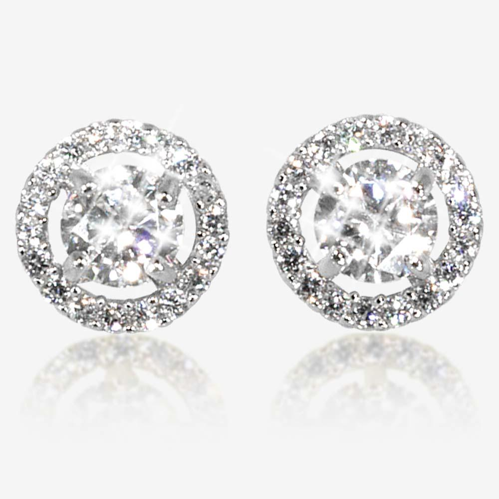 Silver Halo Stud Earrings