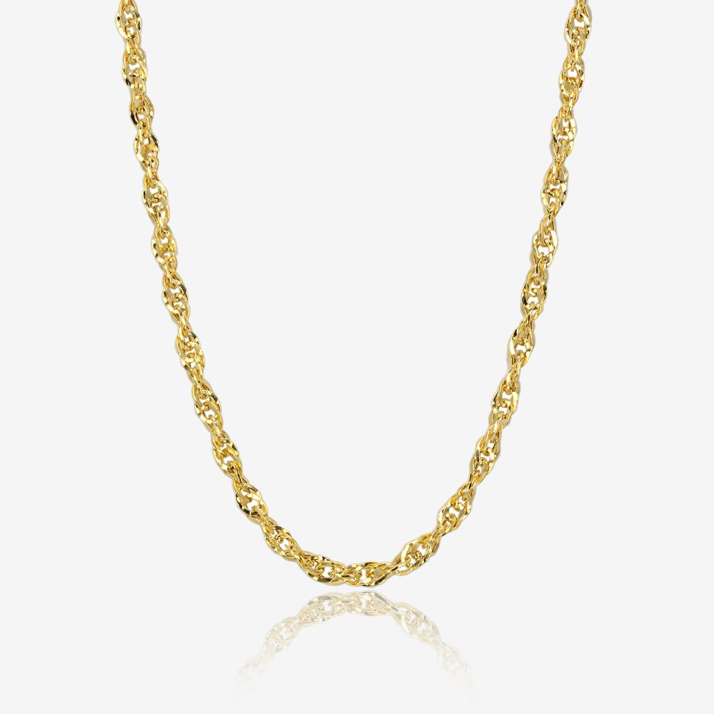 9ct Gold 18 inch Singapore Style Semi Solid Chain Necklace