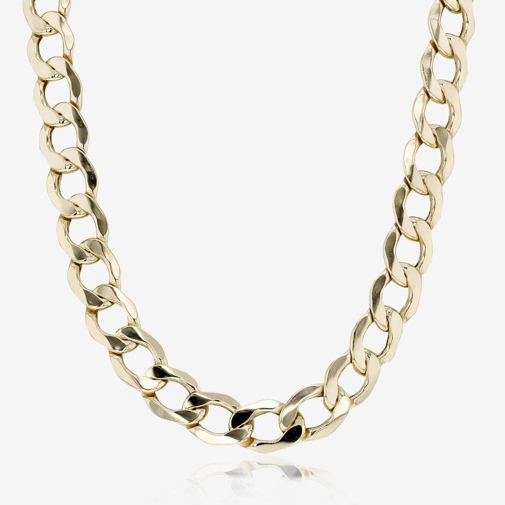 "9ct Gold 22"" Diamond Cut Curb Chain"