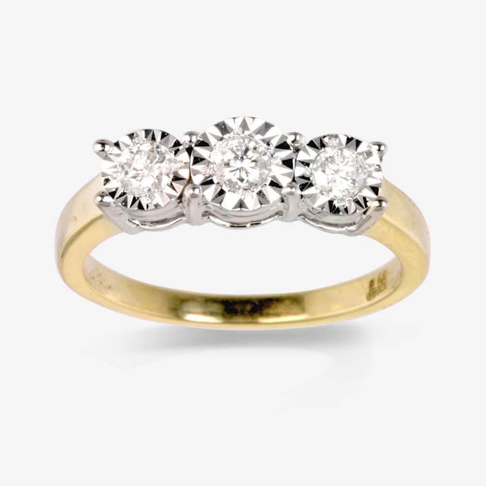Warren James Mens Wedding Rings: 9ct Gold 3 Stone Diamond Trilogy Ring .25ct