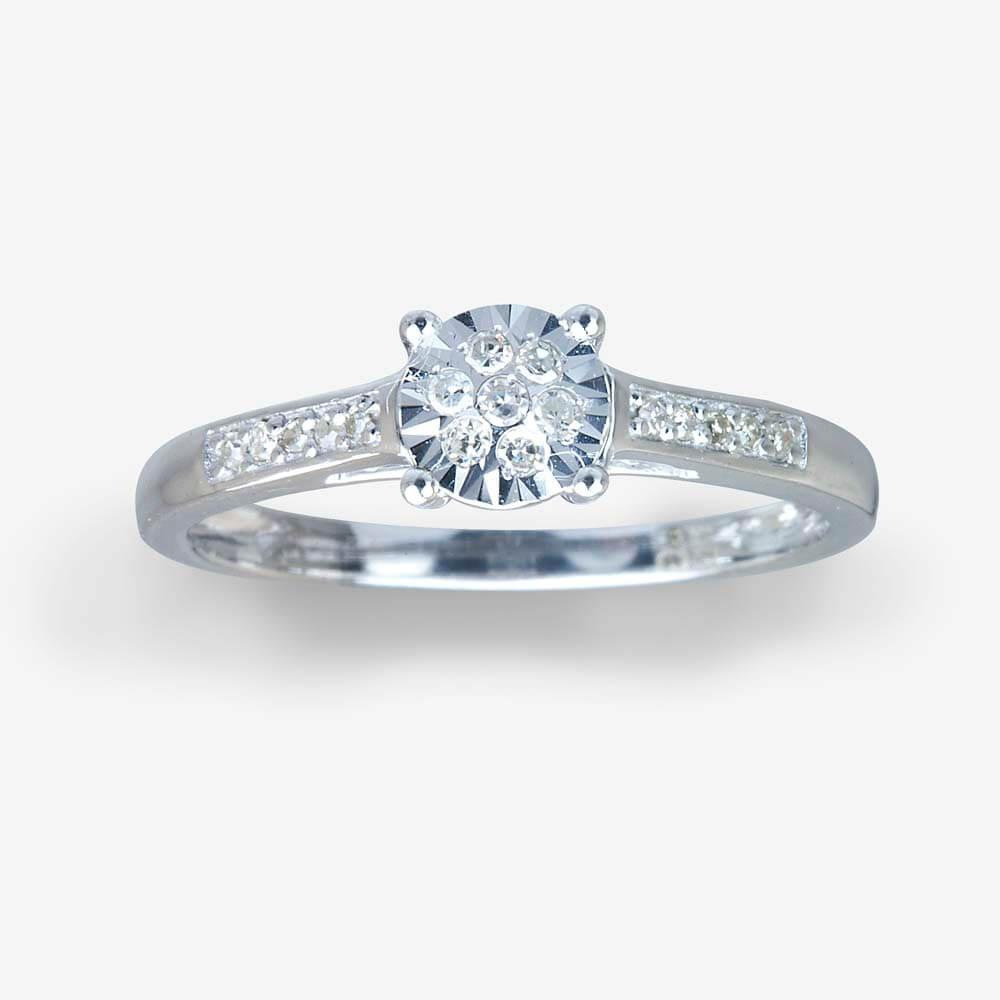 Warren James Mens Wedding Rings: 9ct White Gold Diamond Ring