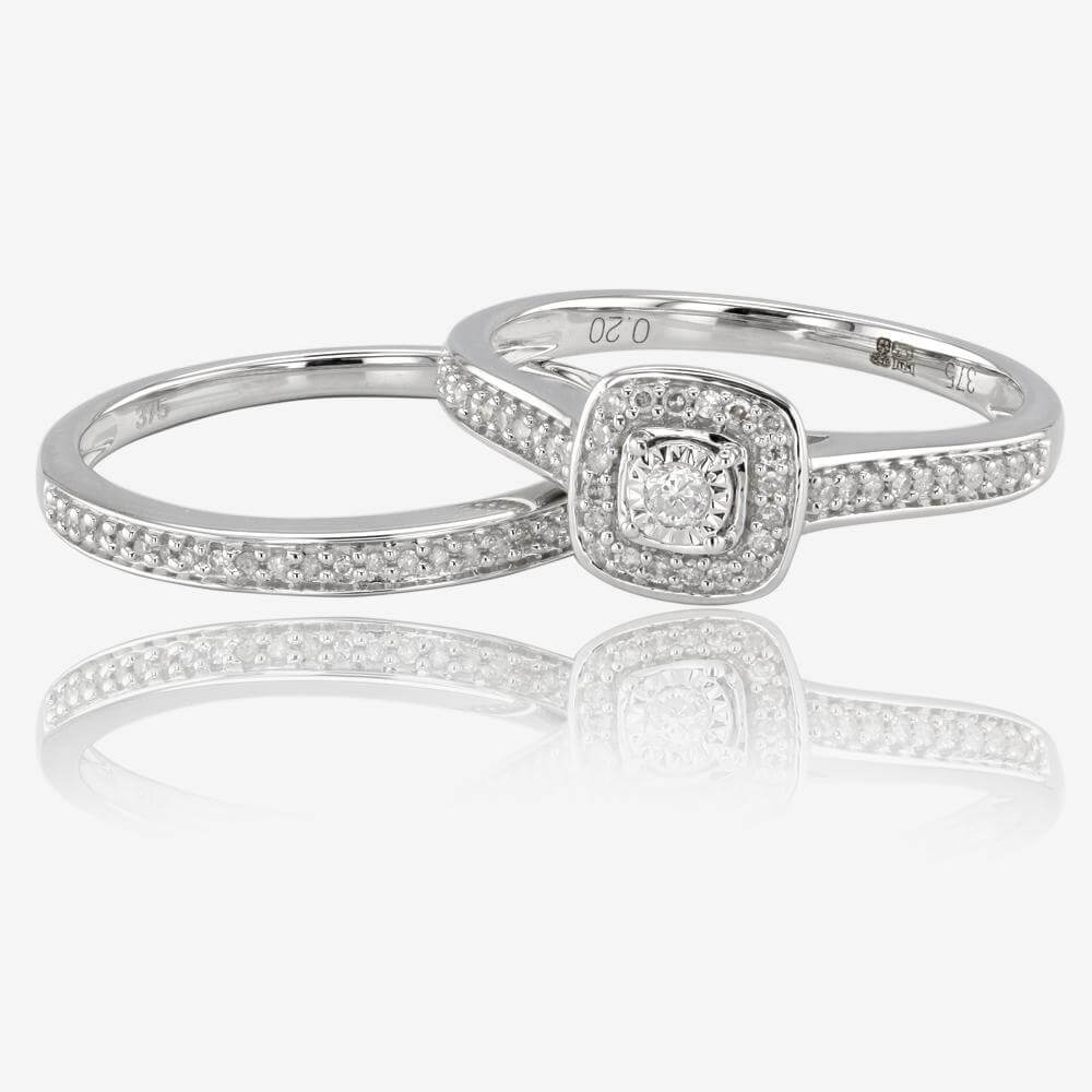 9ct white gold diamond cluster bridal set - Gold And Silver Wedding Rings