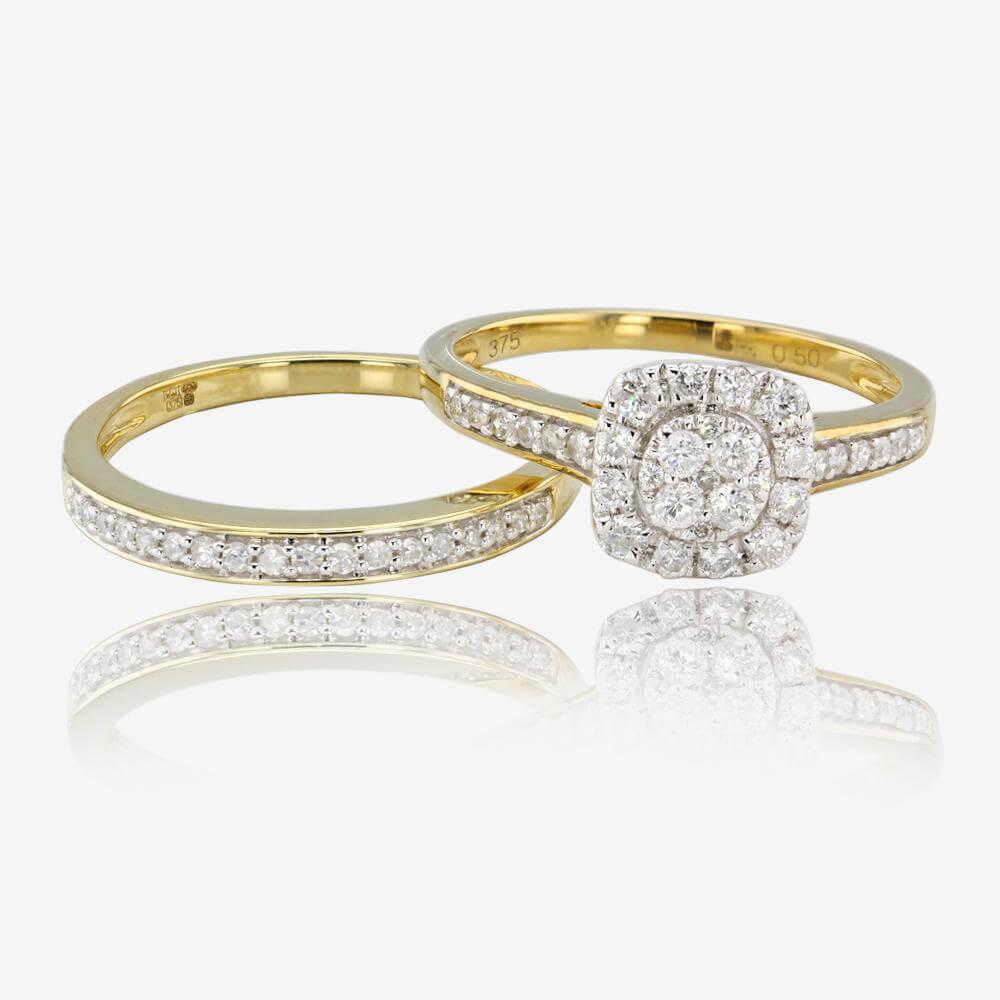 Warren James Mens Wedding Rings: 9ct Gold Diamond Cluster Bridal Set .50ct
