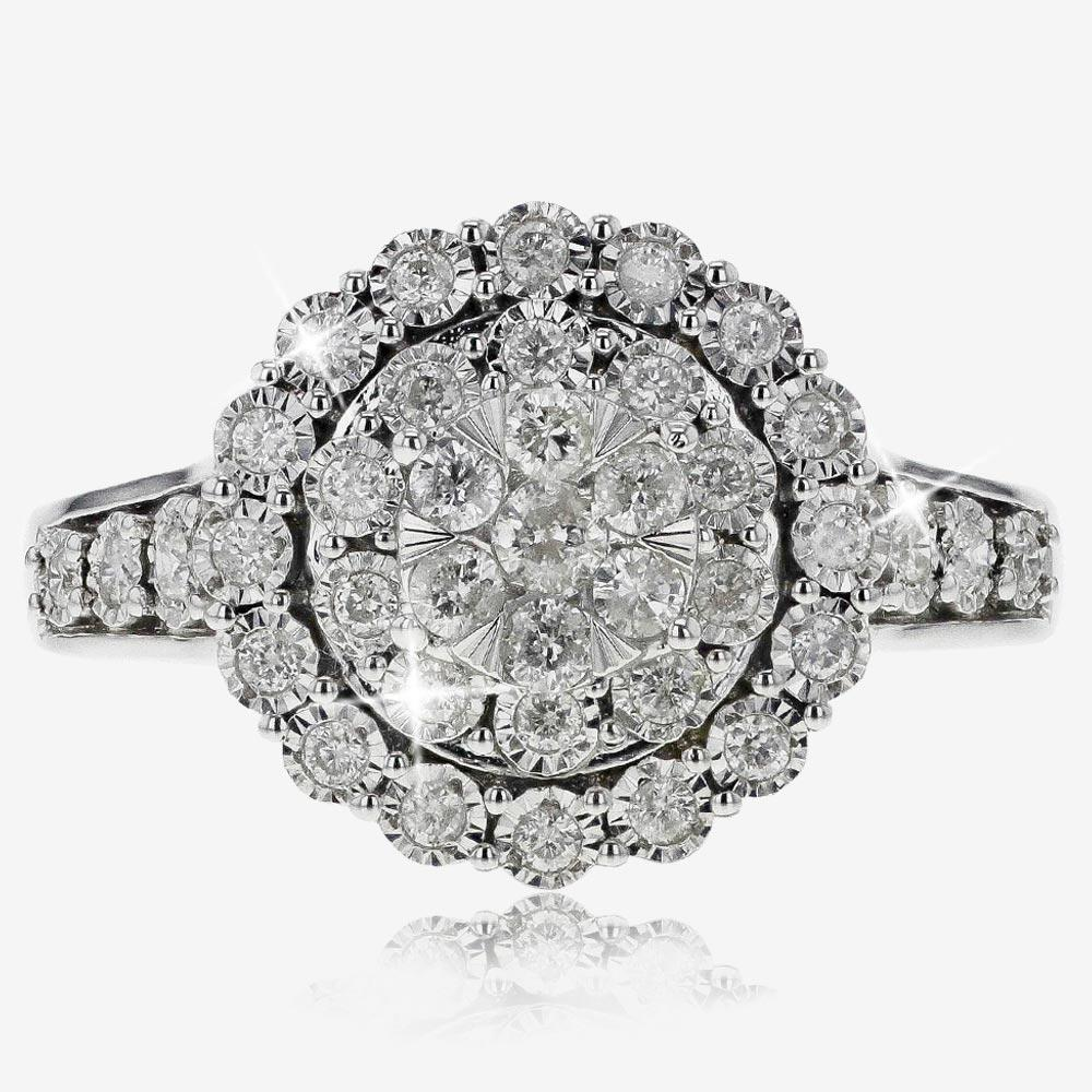 9ct White Gold Diamond Cluster Ring .50ct