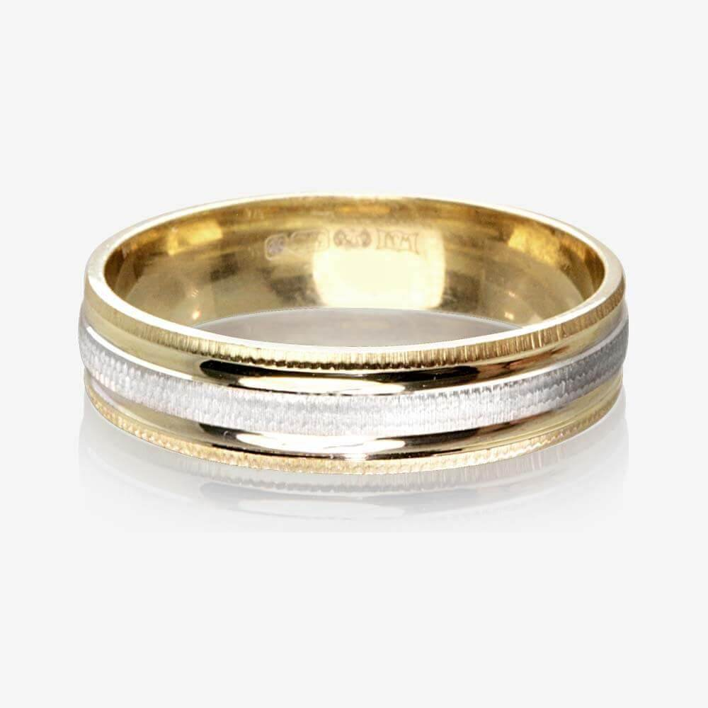 9ct Gold 2 Colour Luxury Weight Ladies Wedding Ring 4.5mm