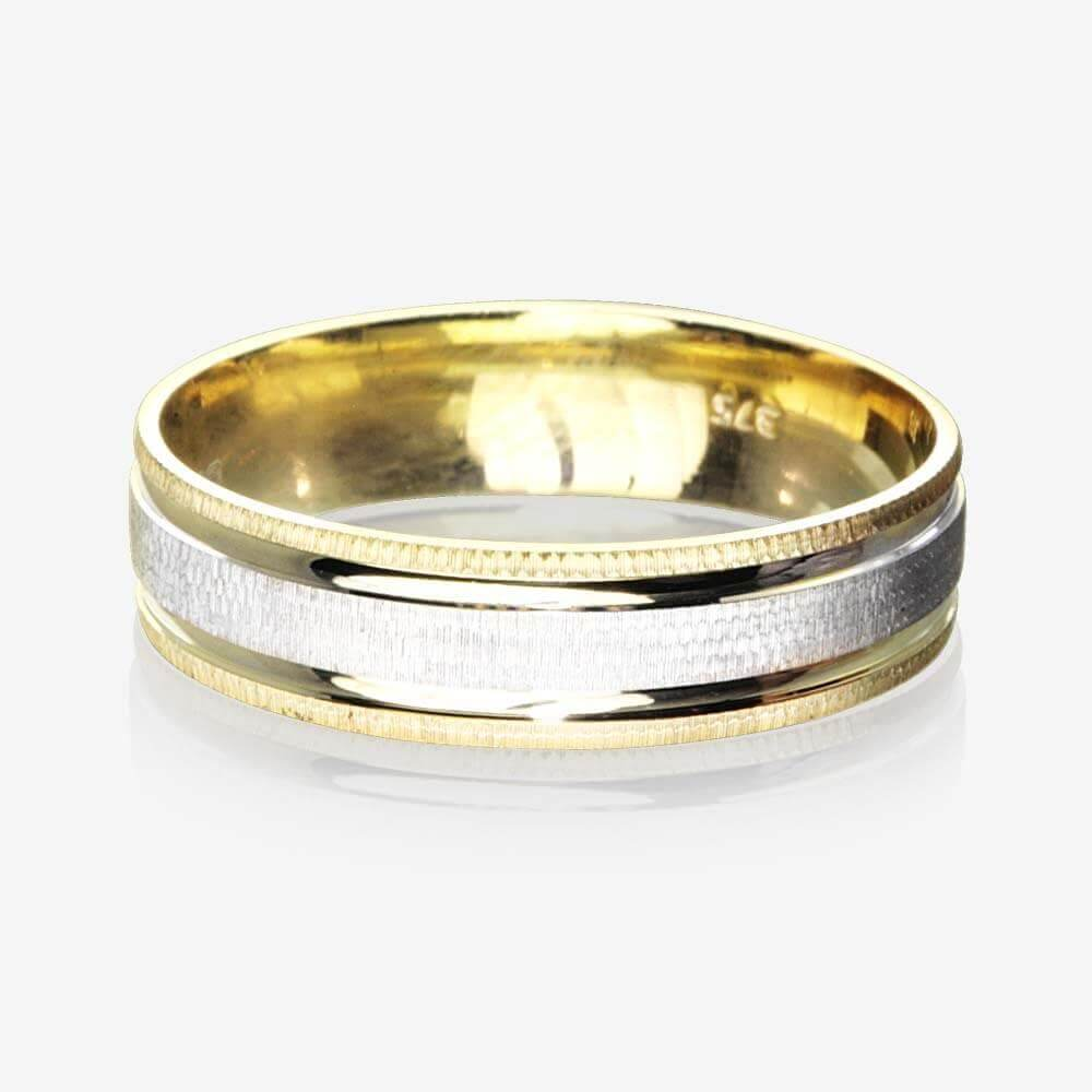 9ct Gold 2 Colour Luxury Weight Men's Wedding Ring 5.5mm