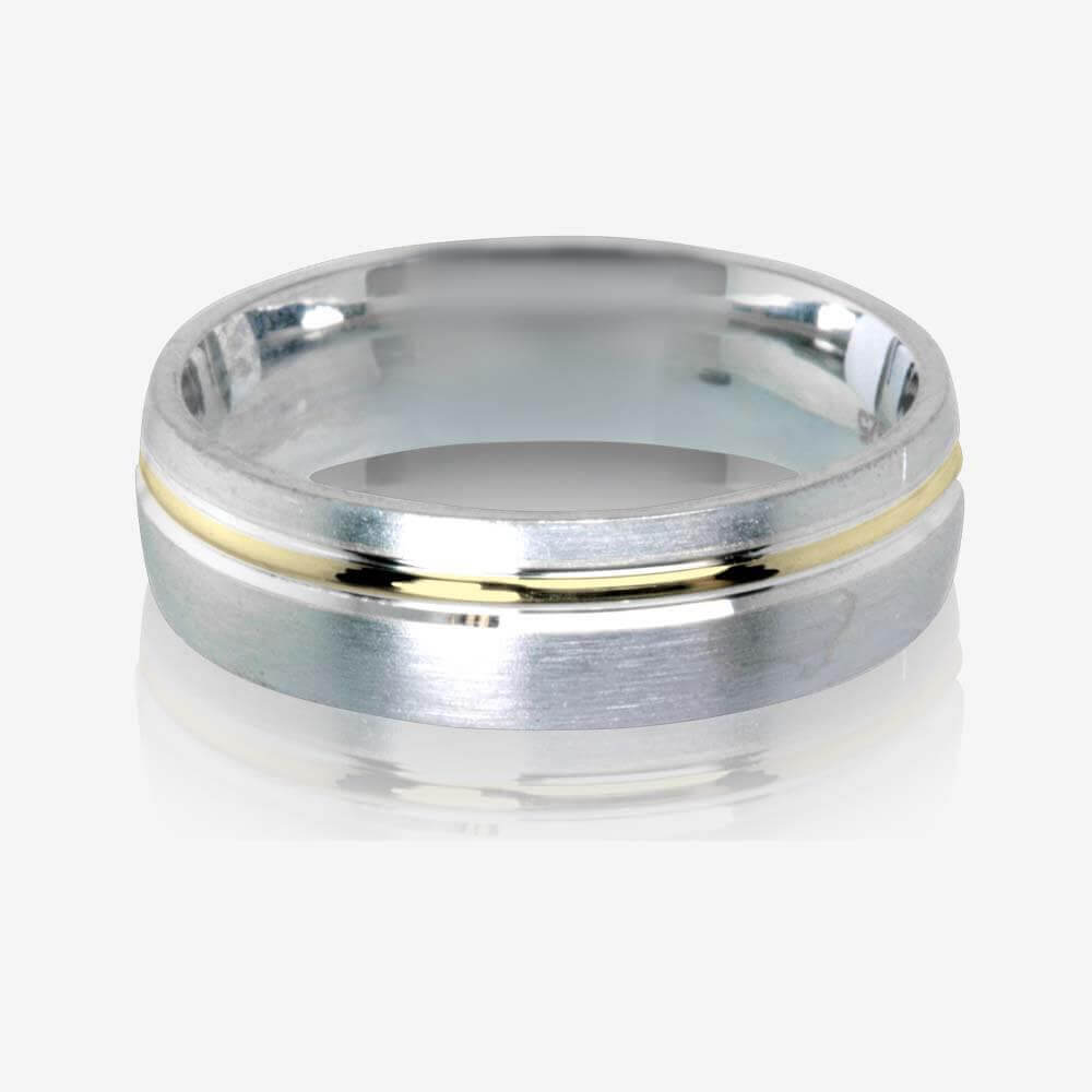 Warren James Mens Wedding Rings: 9ct Gold & Sterling Silver Heavyweight Men's Wedding Ring 6mm