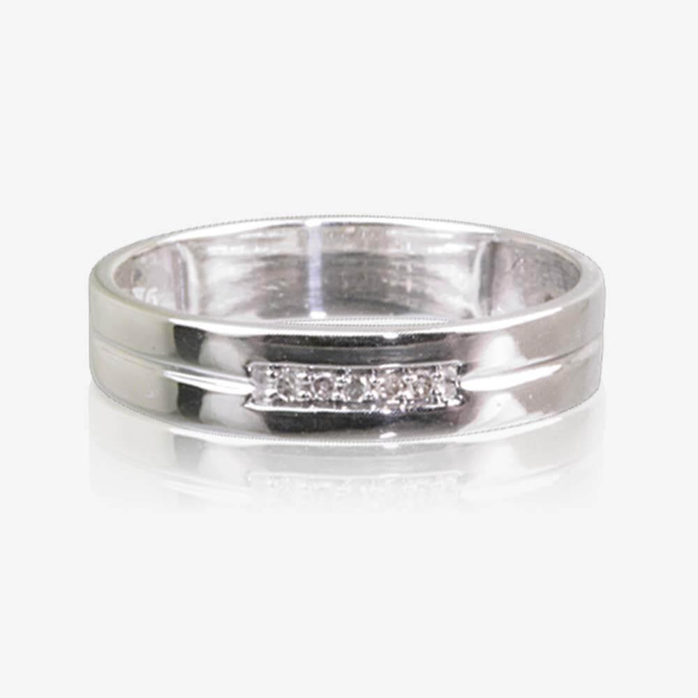 9ct White Gold Diamond Ladies Wedding Ring 4mm