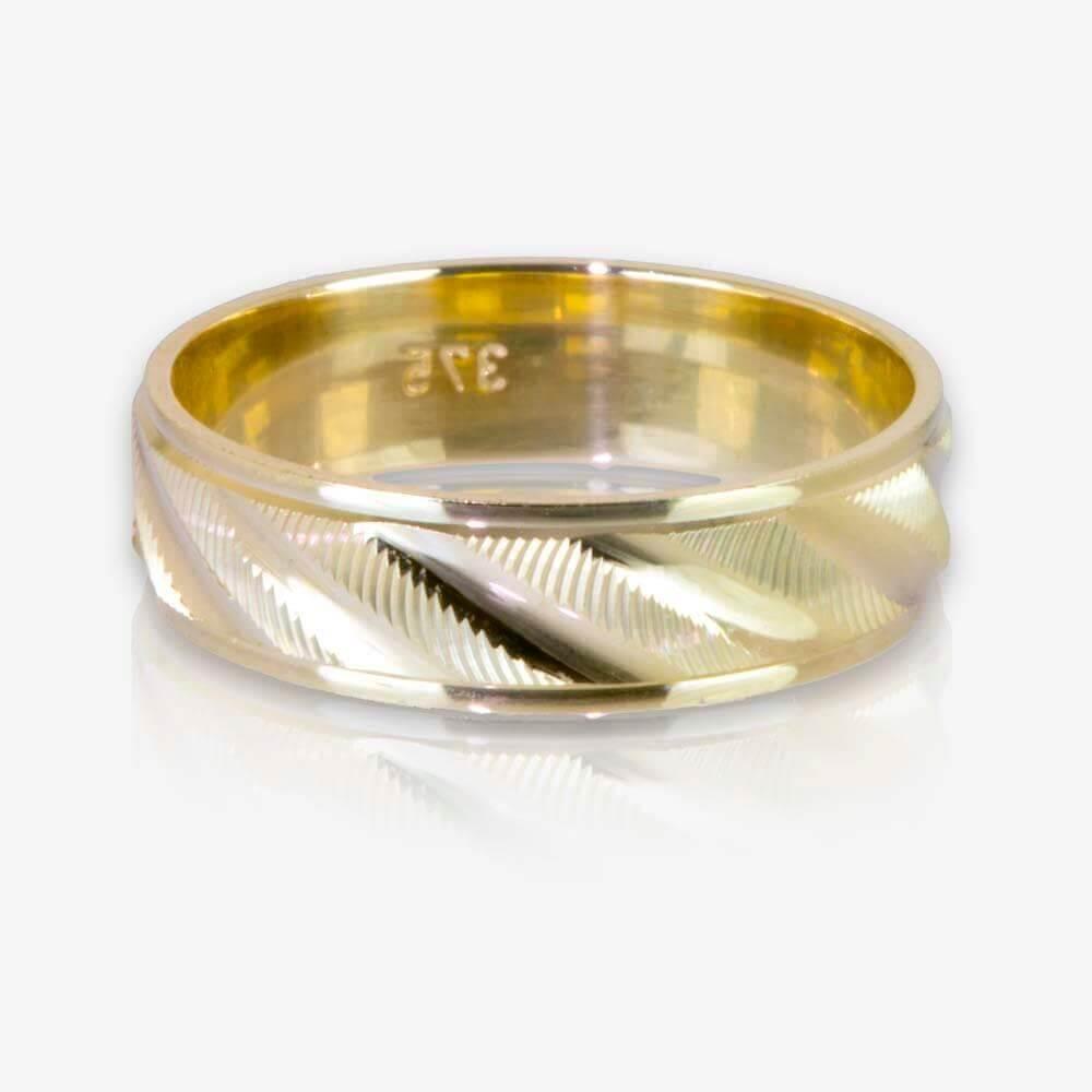 Warren James Mens Wedding Rings: 9ct Gold Ladies Luxury Weight Patterned Wedding Band