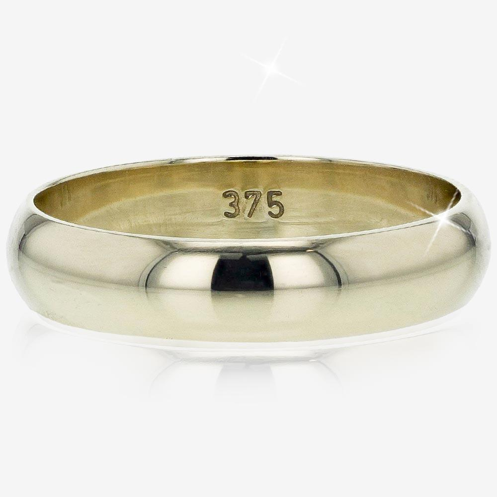 Warren James Mens Wedding Rings: 9ct Gold Heavyweight Domed Band Ring