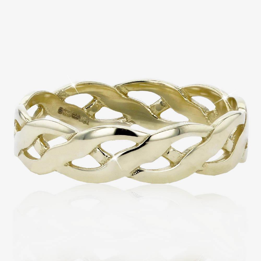 9ct Gold Ladies Celtic Style Wedding Band