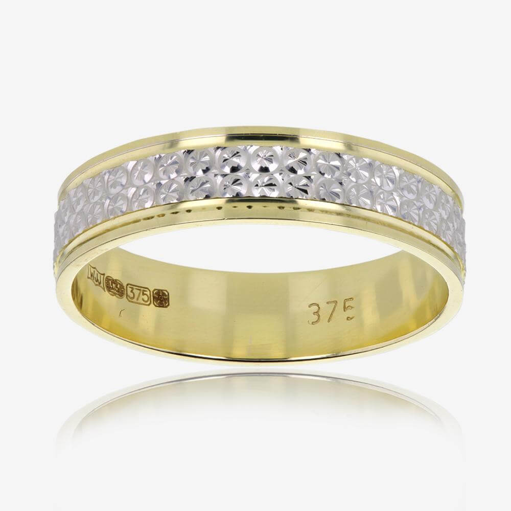 9ct Gold 2 Colour Patterned Ladies Wedding Ring
