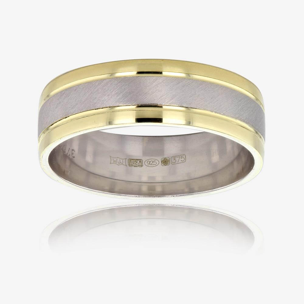 600d6e310281f 9ct Gold And Silver Mens Luxury Weight Wedding Band