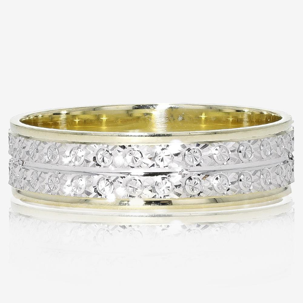 9ct Gold Ladies Two Colour Patterned Wedding Ring