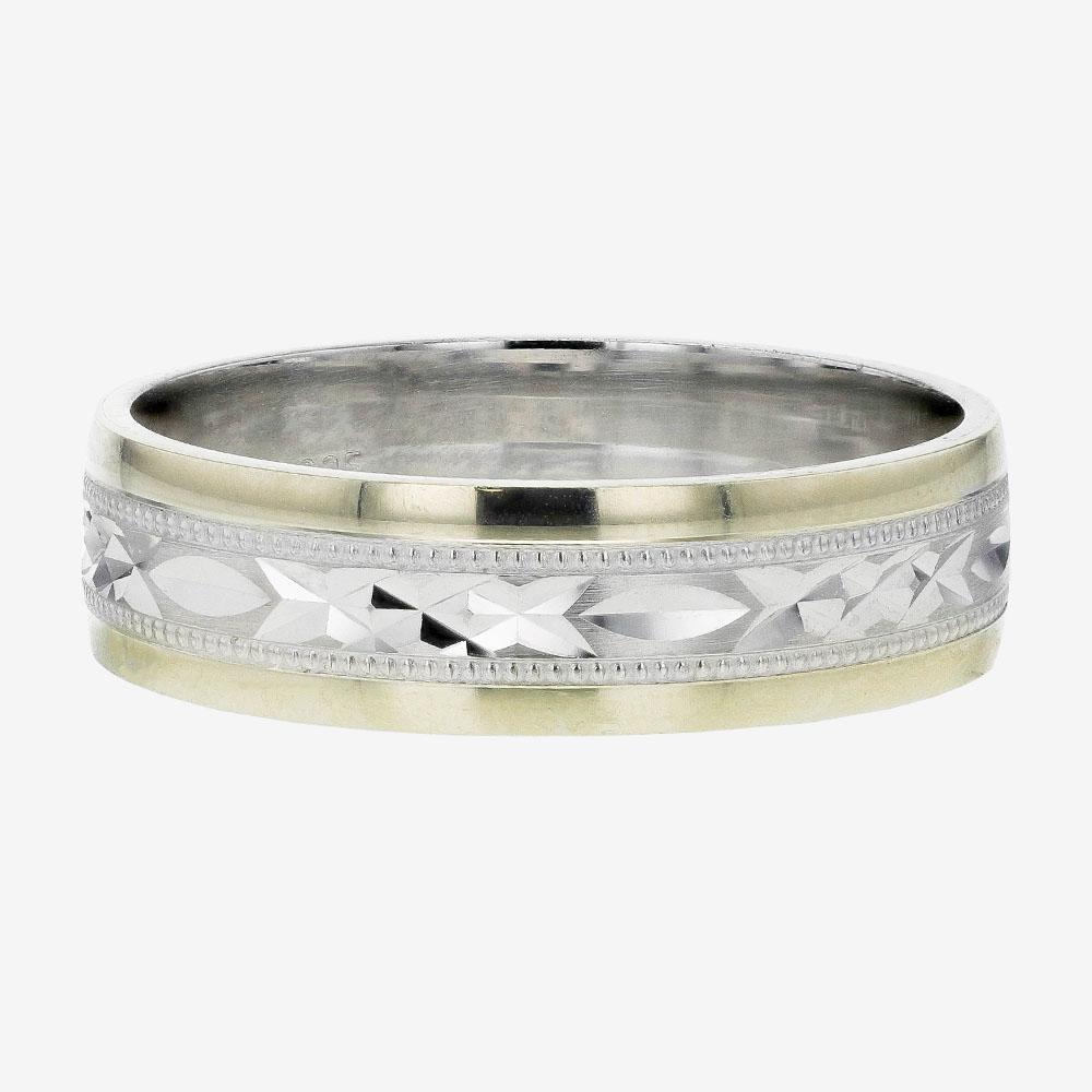 This is a photo of 41ct Gold & Silver Heavy Weight Mens Wedding Ring