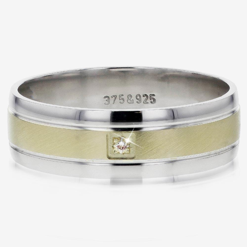 9ct Gold And Silver Men's Heavyweight Diamond Band