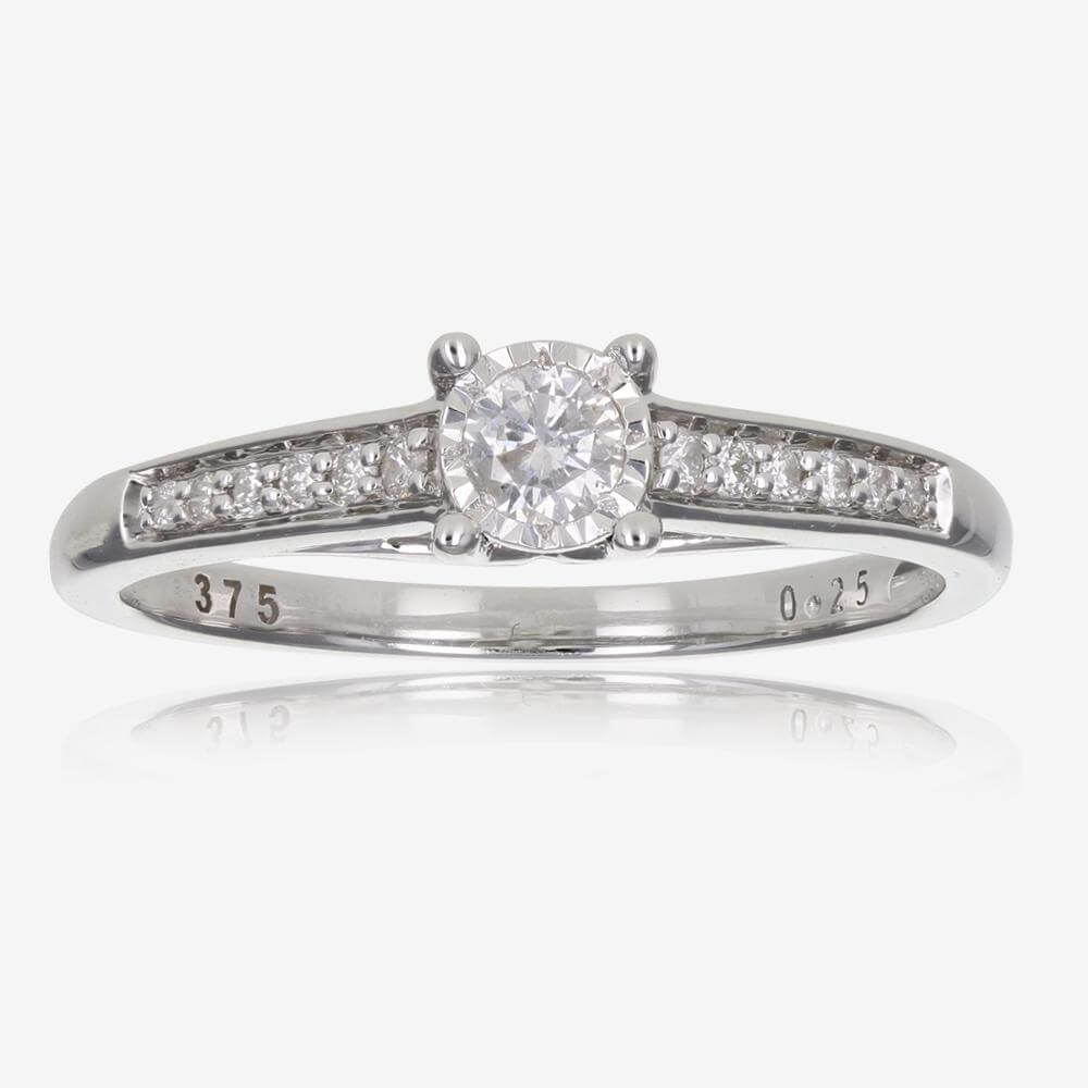 9ct White Gold Certificated Diamond Solitaire .25ct Ring