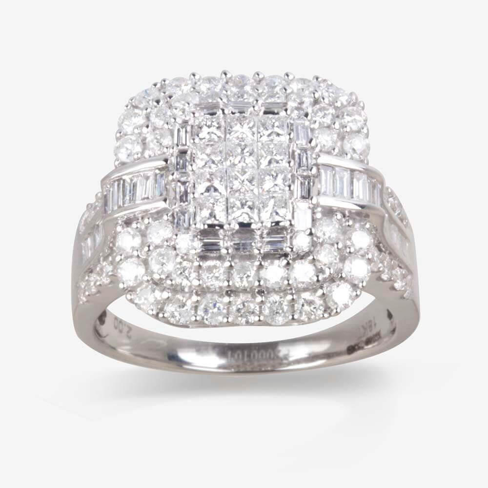 18ct White Gold Certificated Diamond Cluster Ring 2.00ct