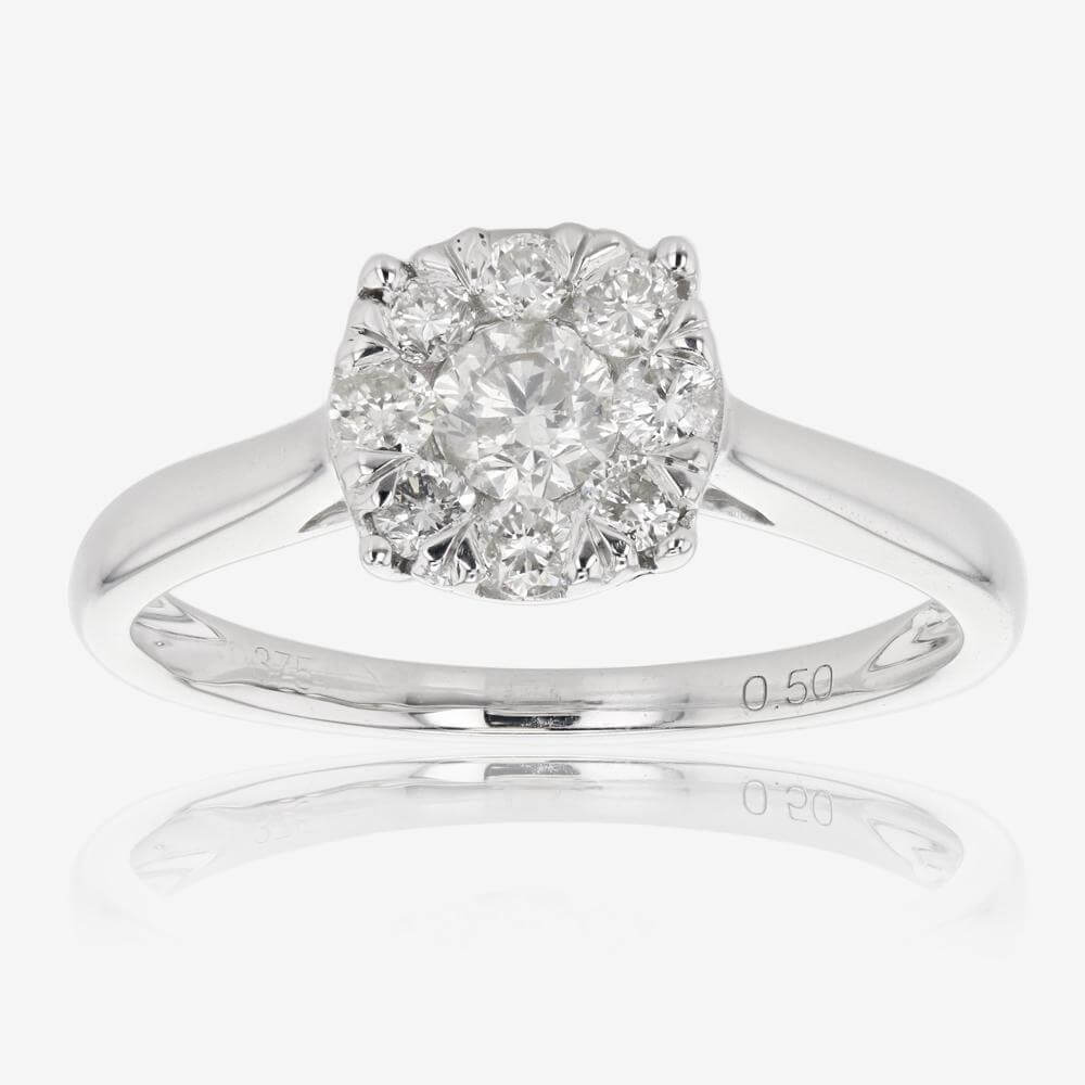 9ct White Gold Certificated Diamond Ring .50ct