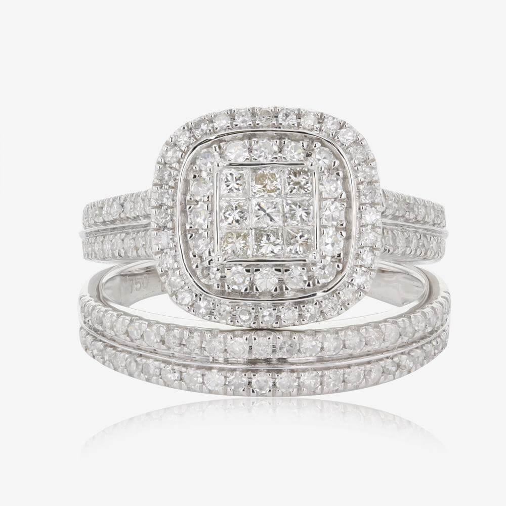 18ct White Gold Diamond Bridal Set 100ct