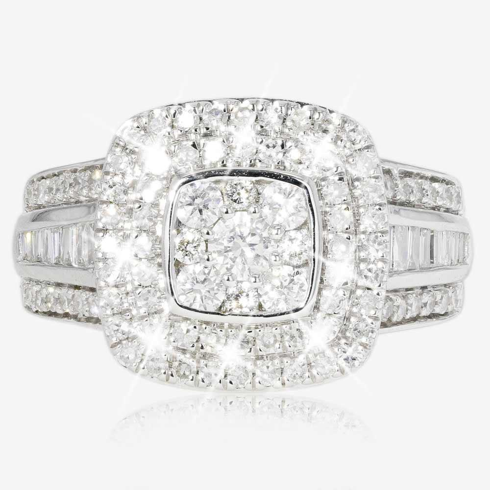 9ct White Gold Diamond 1.00ct Cluster Ring