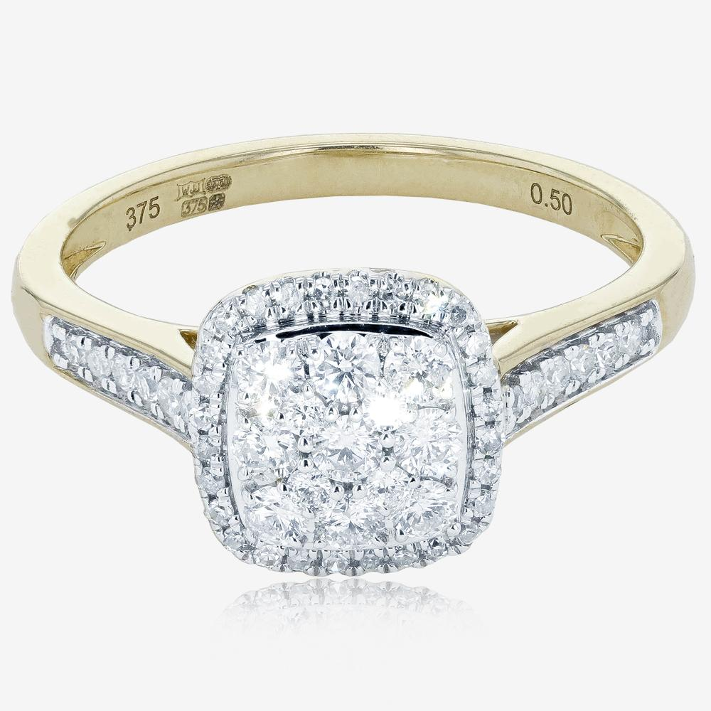 9ct Gold Pure Brilliance Certificated Diamond Ring .50ct