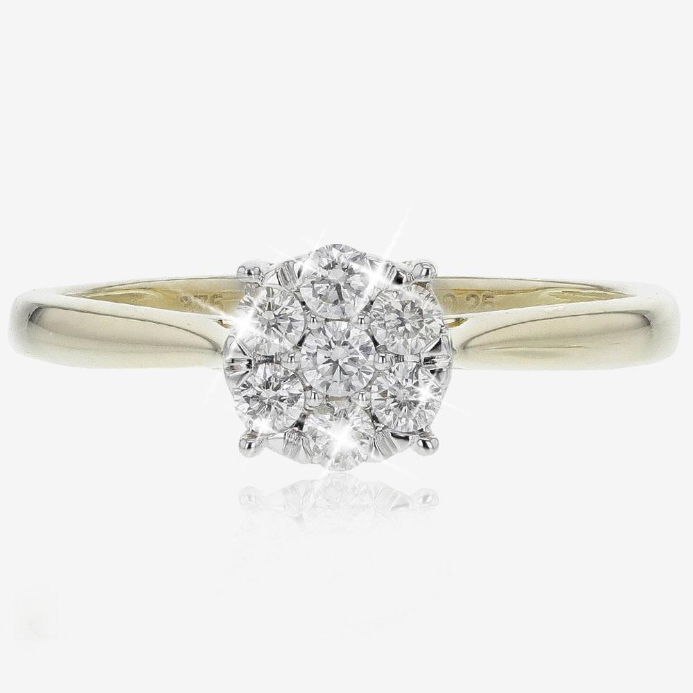 9ct Gold Certificated Diamond Ring .25ct