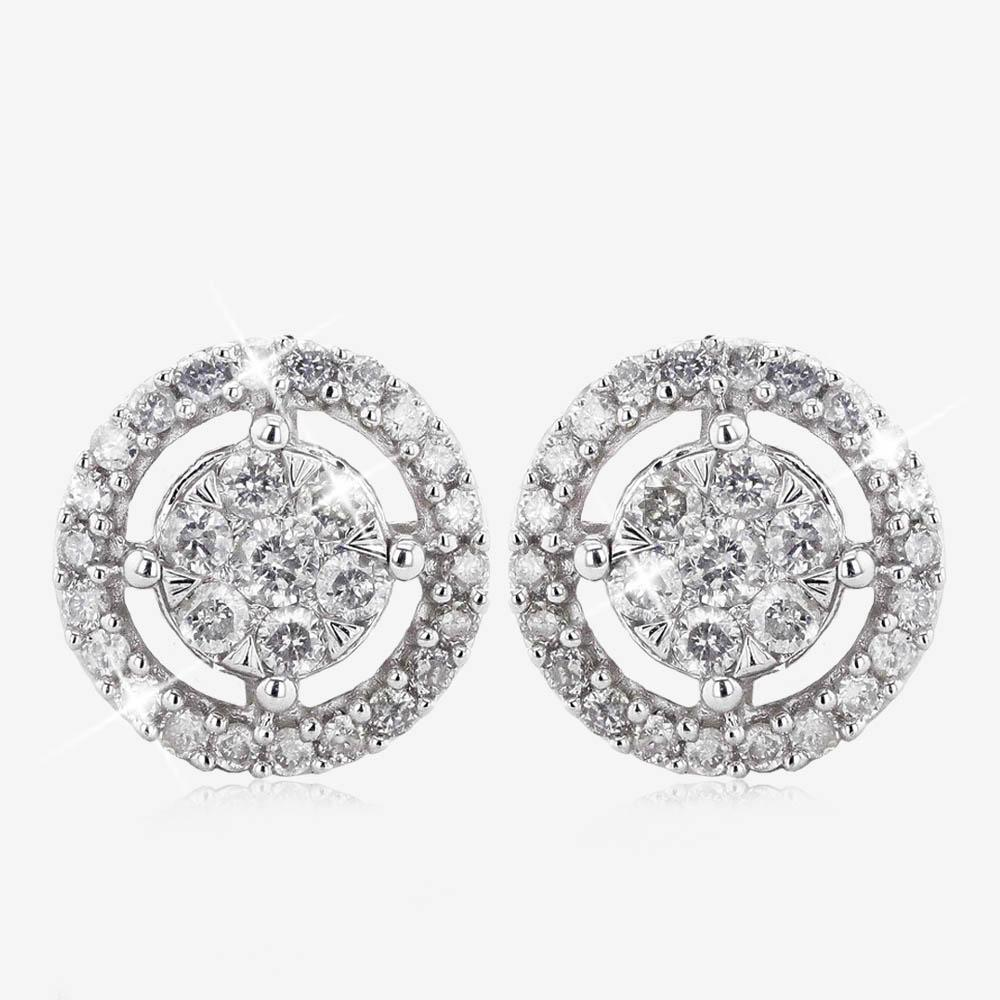 9ct White Gold Certificated Diamond Halo Earrings .25ct