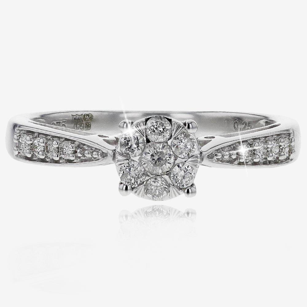 9ct White Gold Pure Brilliance Certificated Diamond Ring .25ct