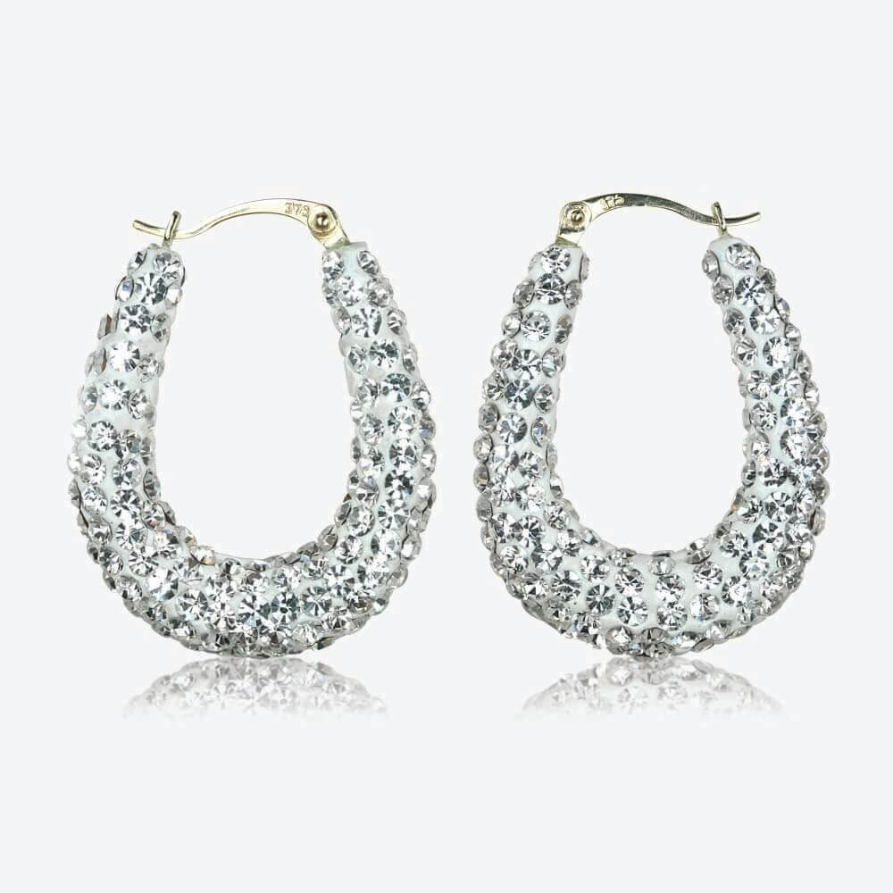 Cleopatra 9ct Gold Crystal Creole Earrings