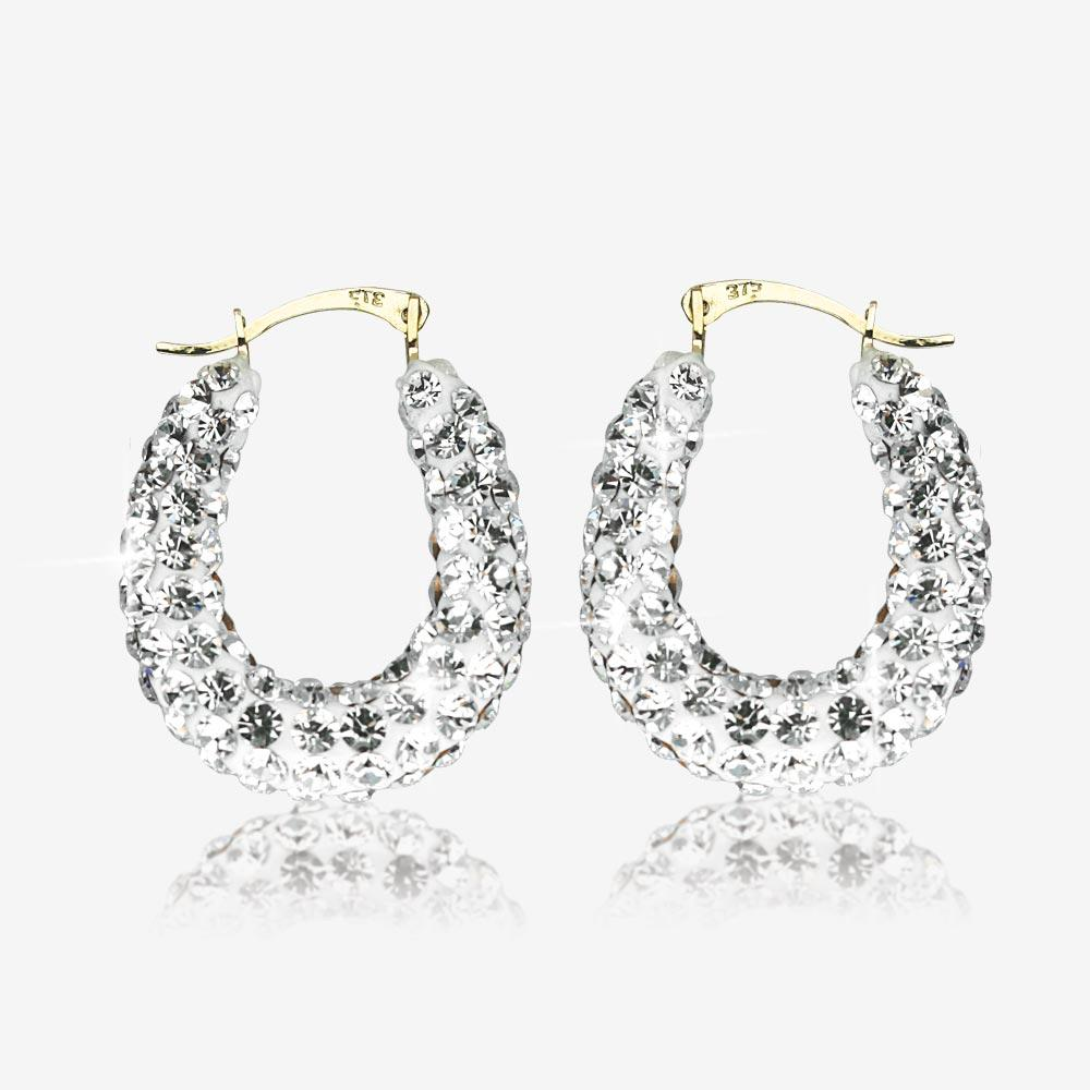 9ct Yellow Gold Crystal Creole Earrings