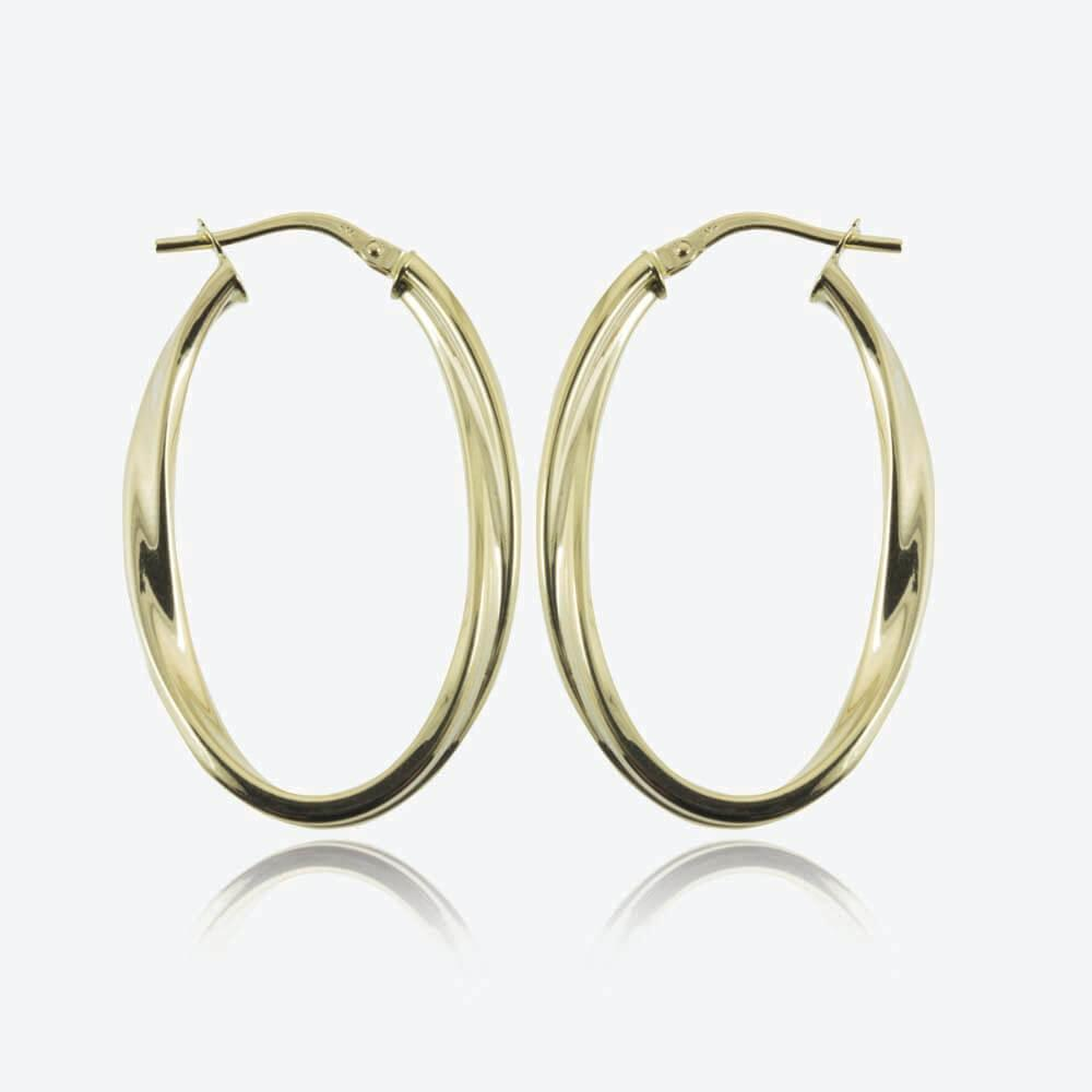 9ct gold oval twist creole earrings