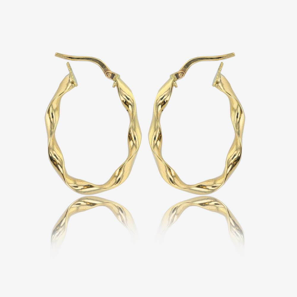 9ct Gold Oval Twist Creole Earrings