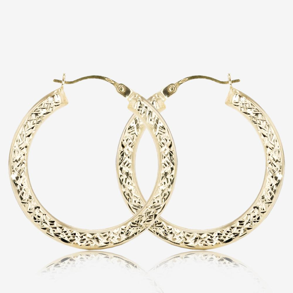 fcf961049 9ct Gold Diamond Cut Creole Earrings