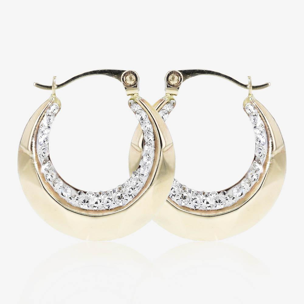 9ct Gold Crystal Creole Earrings