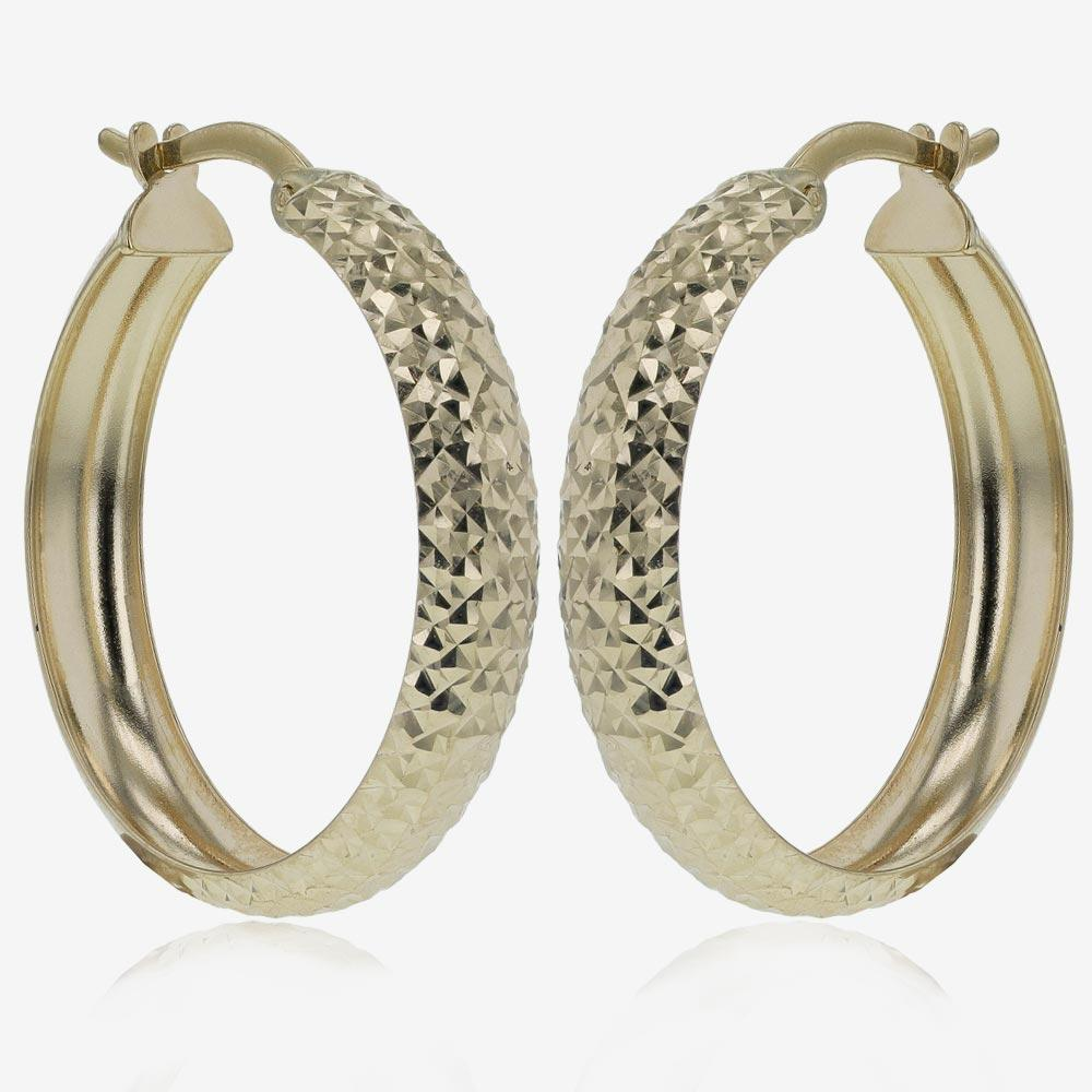 9ct Gold Sparkle Cut Creole Earrings