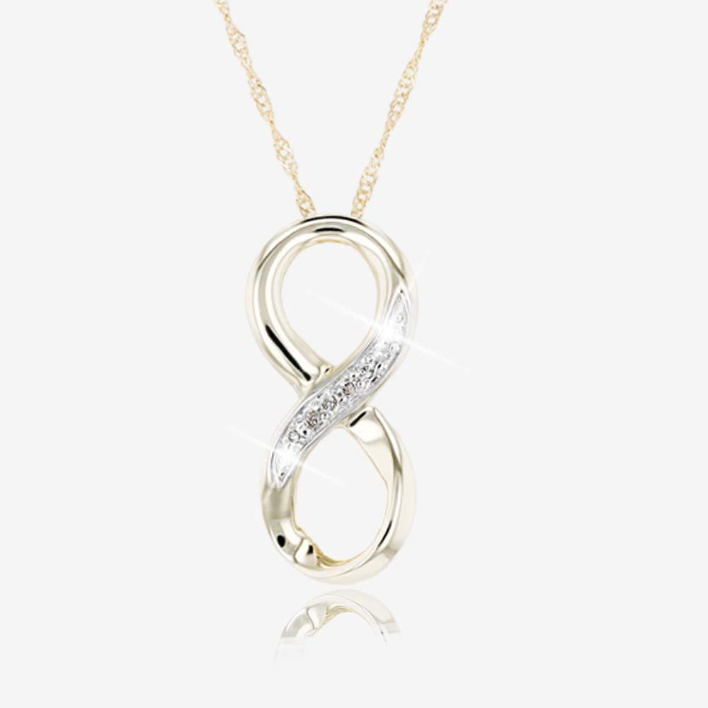 9ct Gold Diamond Infinity Necklace