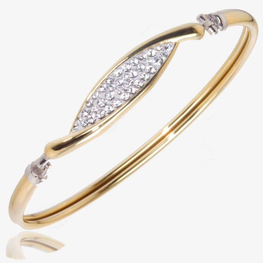 Channelle 9ct Gold & Silver Bonded Bangle Made With Swarovski<sup>&reg;</sup> Crystals