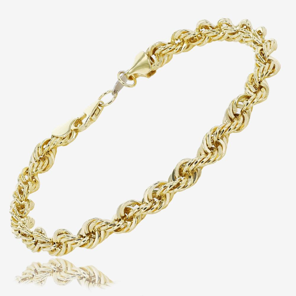Men's 9ct Gold & Silver Bonded Rope Bracelet