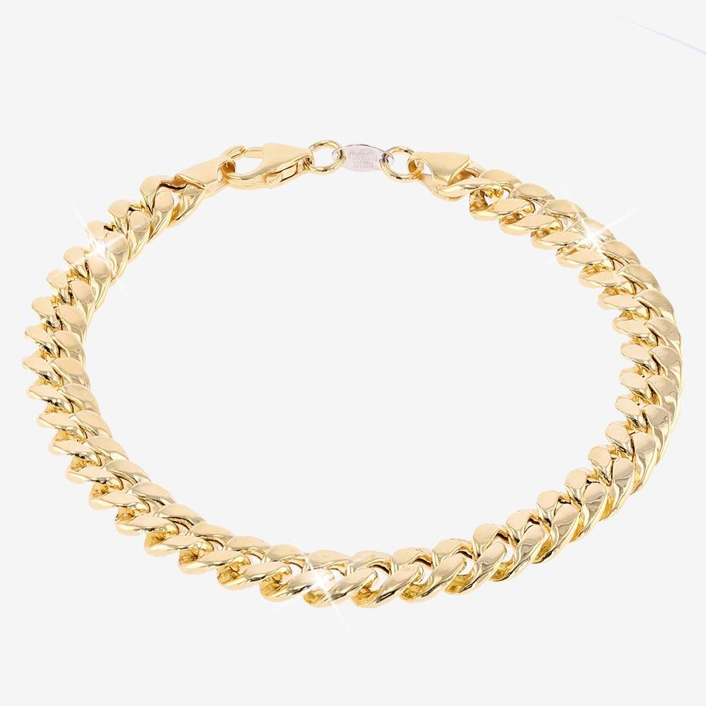 9ct Gold And Silver Bonded Men's Miami Curb Bracelet