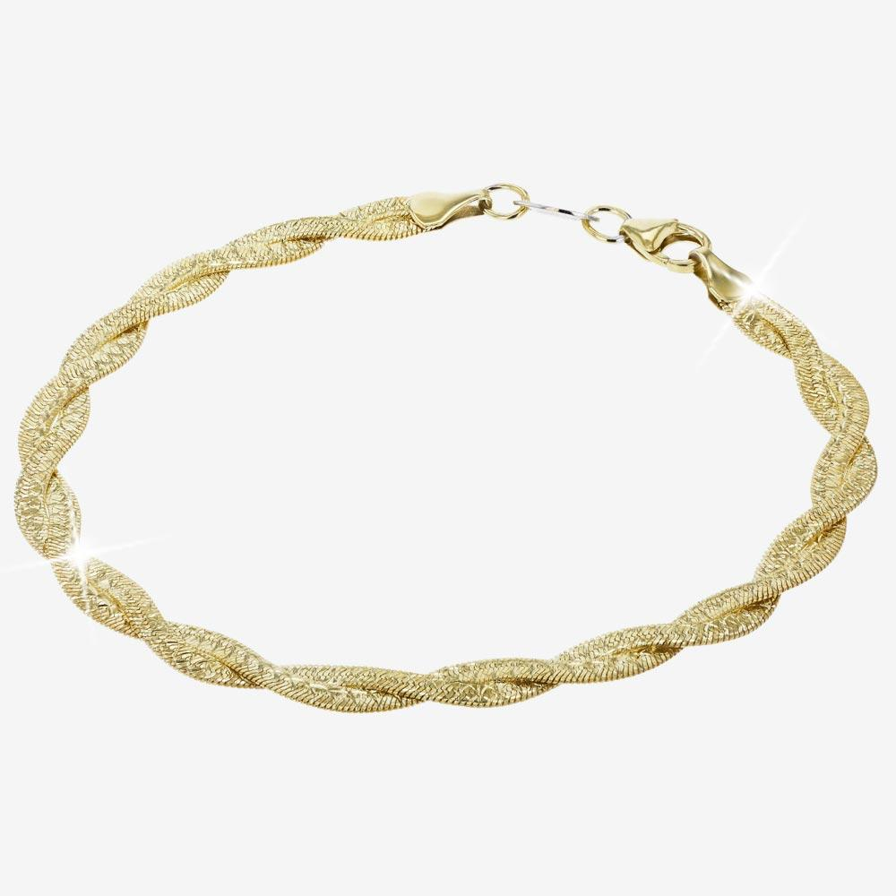 9ct Gold And Silver Bonded Heavy Braid Necklace and Bracelet