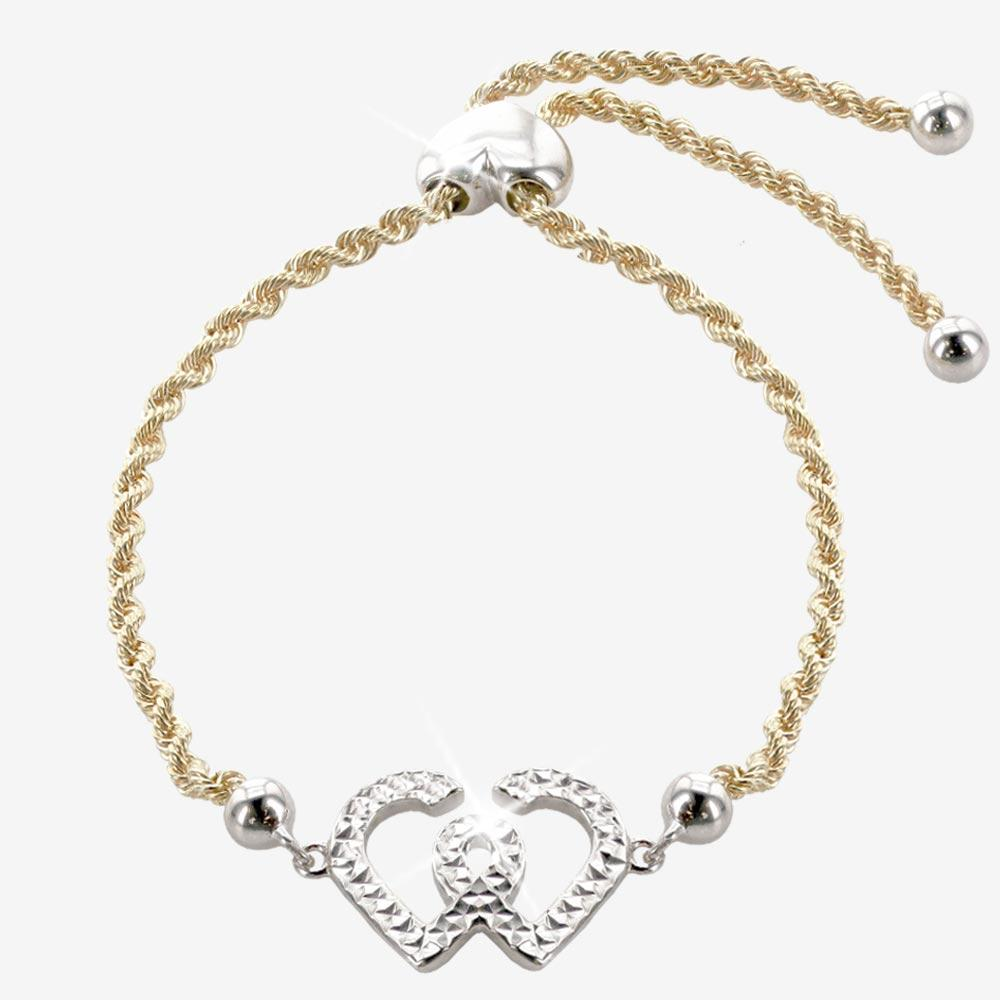 9ct Gold & Silver Bonded Entwined Heart Friendship Bracelet