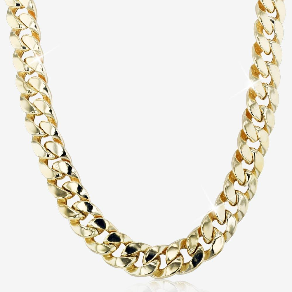 "9ct Gold And Silver Bonded 22"" Miami Curb Necklace Men's"