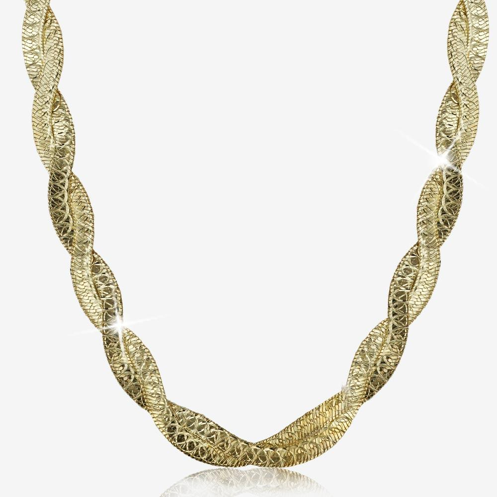 "9ct Gold And Silver Bonded 18"" Heavy Braid Necklace"