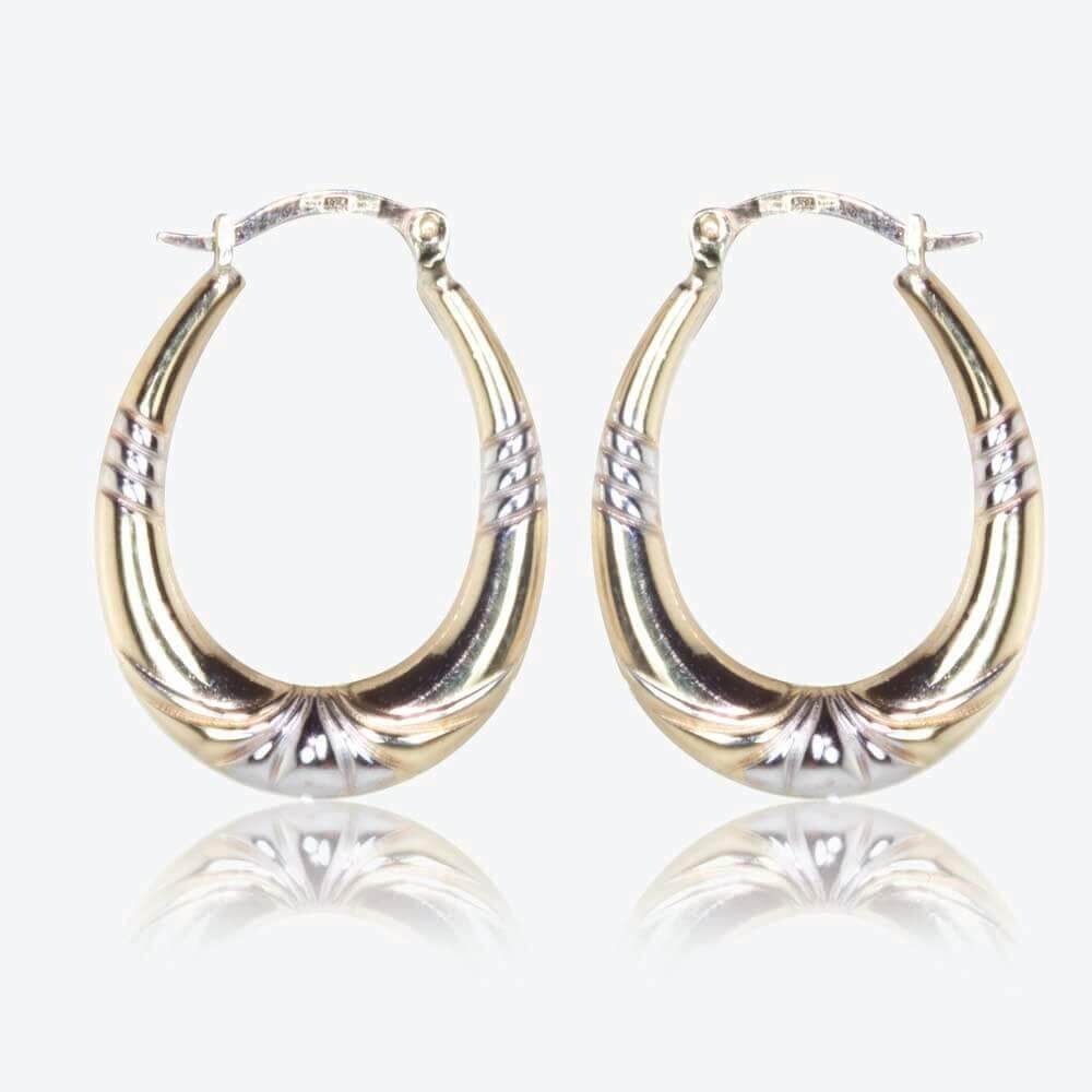 9ct Gold & Silver Bonded Oval Creole Earrings