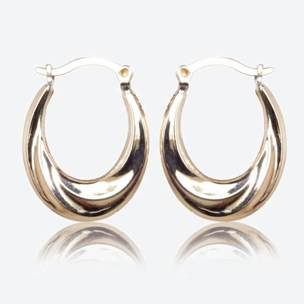 Flavia 9ct Gold & Silver Bonded Creole Earrings
