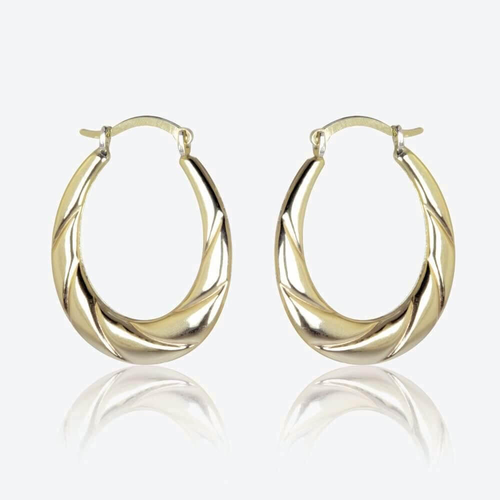 lucia 9ct gold amp silver bonded creole earrings